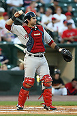 August 24 2008:  Catcher Dusty Brown of the Pawtucket Red Sox, Class-AAA affiliate of the Boston Red Sox, during a game at Frontier Field in Rochester, NY.  Photo by:  Mike Janes/Four Seam Images