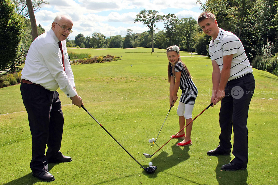 10/08/'10 Brian Ormond and his daughter, Chloe & Jimmy Magee pictured at Palmerstown House Estate Golf Club, Co. Kildare this evening for the launch of  Charity Golf Day for Motor Neurone  Disease. Jimmy Magee's son died of the disease. The Irish Motor Neurone Disease Association was chosen as the recipient of this major fundraiser  to be hosted by TV Presenter Brian Ormond and broadcasting legend  Jimmy Magee; a Charity Golf Day featuring over 40 teams including well  known faces such as Craig Doyle, Shane Byrne and many more..The event takes place on Thursday 19th August at the  exclusive Palmerstown House Estate Golf Club, Johnstown, Co. Kildare  with tee off times at 9:45am and 2:30pm...Picture Colin Keegan, Collins, Dublin.