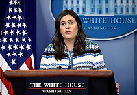 White House press secretary Sarah Sanders conducts the Daily Briefing in the Brady Press Briefing Room of the White House in Washington, DC on Tuesday, May 1, 2018.<br /> Credit: Ron Sachs / CNP /MediaPunch