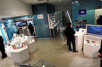 Inside the sony building in Ginza, Japan. Sony Building is Japan's leading electronic manufacturer, the building is 8 floors plus 3 basements that contain many showrooms that hold Cameras, TV's, Computers, Walkman/VAIO, BMW Pulse Shop, and Playstation.  On the 6th floor, devoted solely to Play Station, there are giant screens where the games you requested can be played. The Sony Building which opened in Tokyo's Ginza in 1966 is one of the latest examples of Postmodern architecture..