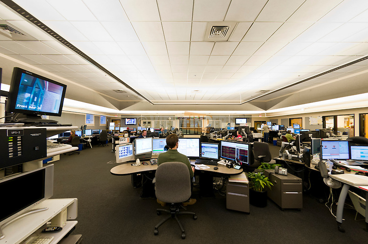 Interior of a 911 call center.
