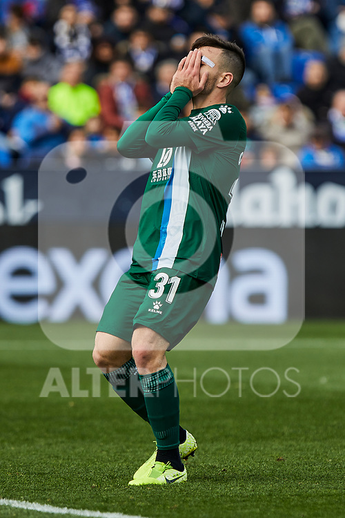Victor Campuzano of RCD Espanyol reacts during La Liga match between CD Leganes and RCD Espanyol at Butarque Stadium in Leganes, Spain. December 22, 2019. (ALTERPHOTOS/A. Perez Meca)