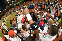 10 March 2009: Team Netherlands celebrate a victory against the Dominican Republic in the eleventh inning during the 2009 World Baseball Classic Pool D game 5 at Hiram Bithorn Stadium in San Juan, Puerto Rico. The Netherlands pulled off second upset to advance to the secound round. The Netherlands come from behind in the bottom of the 11th inning and beat the Dominican Republic, 2-1.