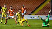 Morecambe's Ritchie Sutton clears a cross<br /> <br /> Photographer Alex Dodd/CameraSport<br /> <br /> EFL Leasing.com Trophy - Northern Section - Group G - Blackpool v Morecambe - Tuesday 3rd September 2019 - Bloomfield Road - Blackpool<br />  <br /> World Copyright © 2018 CameraSport. All rights reserved. 43 Linden Ave. Countesthorpe. Leicester. England. LE8 5PG - Tel: +44 (0) 116 277 4147 - admin@camerasport.com - www.camerasport.com