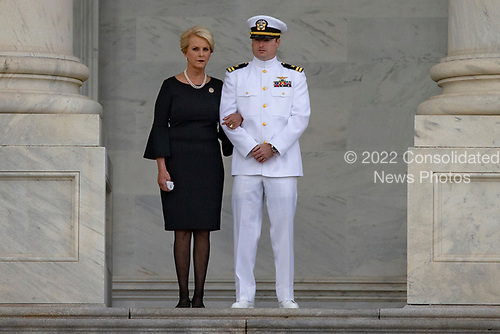 Cindy McCain and Jack McCain, the wife and son of late Senator John McCain look on as a United States Military Honor Guard carries the casket of former Senator John McCain, Republican of Arizona, up the stairs of the Capitol in Washington, DC on August 31, 2018 in Washington, DC. McCain, a United States Military veteran and longtime Senator, will lay in state inside the Capitol Rotunda for one day prior to being laid to rest on September 1, 2018 at the United States Naval Academy in Annapolis, Maryland. Credit: Alex Edelman / CNP
