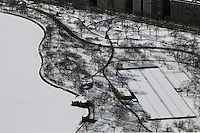 aerial photograph Central Park tennis courts, Manhattan, New York City after a snow storm