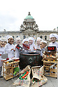 Members from the IF campaign wear masks representing world leaders dressed as chefs, outside the City Hall, Sunday June 16, 2013, Belfast, ahead of the G8 Summit, as they hope the leaders will be able to 'find a recipe for success' during the summit meetings in Fermanagh,  Northern Ireland, 15 June 2013. Leaders from Canada, France, Germany, Italy, Japan, Russia, USA and UK are meeting at Lough Erne in Northern Ireland for the G8 Summit 17-18 June. Photo/Paul McErlane