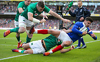 Sunday10th March 2019 | Ireland vs France<br /> <br /> Conor Murray and Peter O&rsquo;Mahony tackle Romain Ntamack into touch in-goal during the Guinness 6 Nations clash between Ireland and France at the Aviva Stadium, Lansdowne Road, Dublin, Ireland. Photo by John Dickson / DICKSONDIGITAL