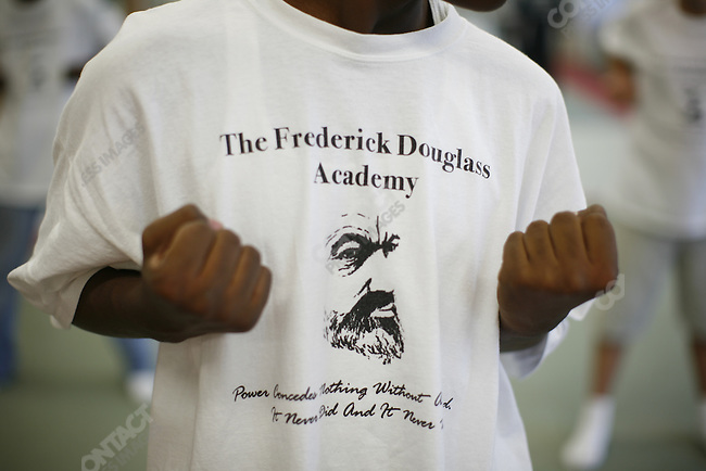Boys practicing martial arts at the Frederick Douglass Academy in Harlem, New York City, New York, July 25, 2007