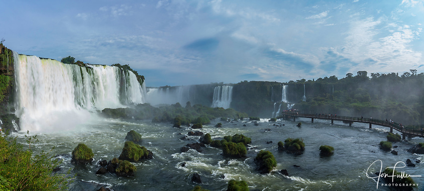 Iguazu Falls National Park in Brazil in the foreground and Argentina behind.  A UNESCO World Heritage Site.  Pictured is the Santa Maria Waterfall at left with the Devil's Throat or Garganta del Diablo, center, and Salto Mitre and the Belgrano Waterfall at right.