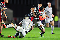 Tusi Pisi of Bristol Rugby takes on the Bath Rugby defence. European Rugby Challenge Cup match, between Bristol Rugby and Bath Rugby on January 13, 2017 at Ashton Gate Stadium in Bristol, England. Photo by: Patrick Khachfe / Onside Images