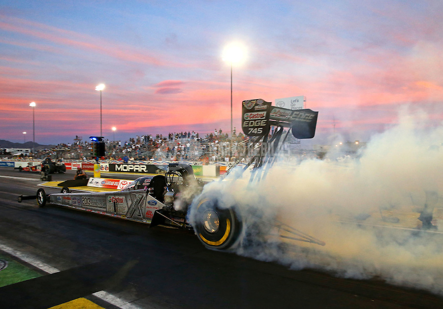 Oct 31, 2014; Las Vegas, NV, USA; NHRA top fuel driver Brittany Force during qualifying for the Toyota Nationals at The Strip at Las Vegas Motor Speedway. Mandatory Credit: Mark J. Rebilas-USA TODAY Sports