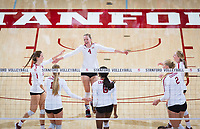 STANFORD, CA - October 12, 2018: Sidney Wilson, Jenna Gray, Meghan McClure, Tami Alade, Kathryn Plummer, Kate Formico at Maples Pavilion. No. 2 Stanford Cardinal swept No. 21 Washington State Cougars, 25-15, 30-28, 25-12.