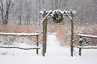 63821-174.01 Rustic fence & arbor with holiday wreath near prairie in winter, Marion Co. IL