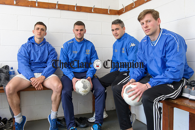 Conor Mullen, Eoin O Brien and Eoin Hayes and Colin Smyth in the dressing room before a training session at Frank Healy Park Doora in preparation for the Oscar Traynor final in Donegal. Photograph by John Kelly.