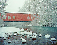 F00086M.tiff   Shimanek Bridge in snow storm. Near Scio, Oregon.