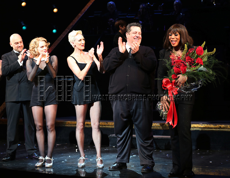 "Alexander Gemignani, Amy Spangler, Amra-Faye Wright, Paul C. Vogt and Wendy Williams during the Curtain Call for Wendy Williams making her Broadway stage debut as Matron ""Mama"" Morton in CHICAGO at the Ambassador Theatre on July 1, 2013 in New York City."