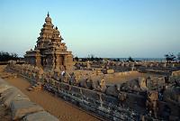 Indien, Mahabalipuram (Tamil Nadu), Strandtempel 7. Jh.  Unesco-Weltkulturerbe