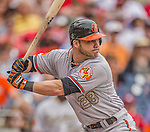 27 May 2013: Baltimore Orioles outfielder Steve Pearce in action against the Washington Nationals at Nationals Park in Washington, DC. The Orioles defeated the Nationals 6-2, taking the Memorial Day, first game of their interleague series. Mandatory Credit: Ed Wolfstein Photo *** RAW (NEF) Image File Available ***