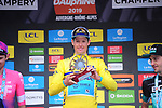 Race leader Yellow Jersey Jakob Fuglsang (DEN) Astana Pro Team wins the overall general classification at the end of Stage 8 of the Criterium du Dauphine 2019, running 113.5km from Cluses to Champery, Switzerland. 16th June 2019.<br /> Picture: Colin Flockton | Cyclefile<br /> All photos usage must carry mandatory copyright credit (© Cyclefile | Colin Flockton)