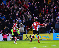 Lincoln City's Tom Pett, right, celebrates scoring his side's second goal with Bruno Andrade<br /> <br /> Photographer Andrew Vaughan/CameraSport<br /> <br /> Emirates FA Cup First Round - Lincoln City v Northampton Town - Saturday 10th November 2018 - Sincil Bank - Lincoln<br />  <br /> World Copyright &copy; 2018 CameraSport. All rights reserved. 43 Linden Ave. Countesthorpe. Leicester. England. LE8 5PG - Tel: +44 (0) 116 277 4147 - admin@camerasport.com - www.camerasport.com