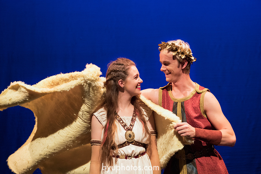 1705-11 427<br /> <br /> Medea (Olive Ockey) and Jason (Dylan Wright) in BYU&rsquo;s family production of &ldquo;Agonautika&rdquo; by Mary Zimmerman.<br /> <br /> 1705-11 TMA Argonautika<br /> <br /> May 3, 2017<br /> <br /> Photo by  Aaron Cornia/BYU<br /> <br /> Copyright BYU Photo 2017<br /> All Rights Reserved<br /> photo@byu.edu  <br /> (801)422-7322