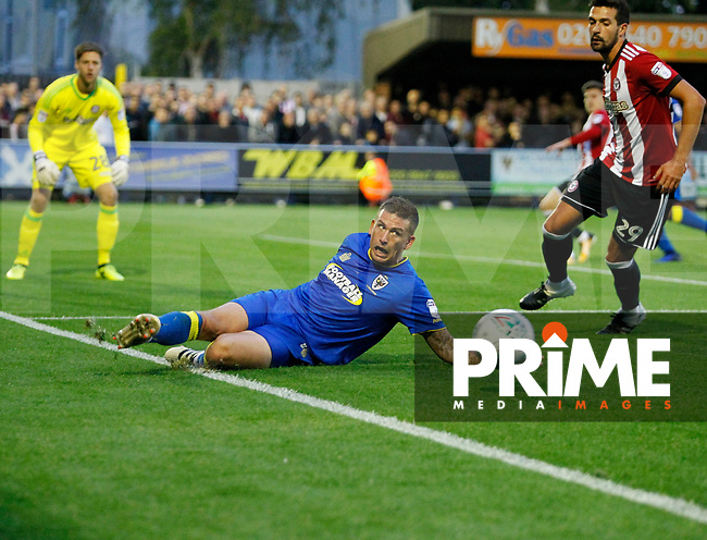 AFC Wimbledon's Cody McDonald seen during the Carabao Cup match between AFC Wimbledon and Brentford at the Cherry Red Records Stadium, Kingston, England on 8 August 2017. Photo by Carlton Myrie.