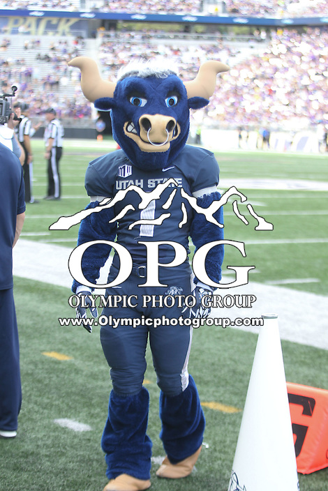 SEP 19, 2015:  Utah State mascot Big Blue against the University of Washington .  Washington defeated Utah State 31-17 at Husky Stadium in Seattle Washington.