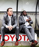 Nederland, Nijmegen, 10 mei 2012.Seizoen 2011/2012.Eredivisie.N.E.C.-Vitesse.John van den Brom (l) en Stanley Menzo van Vitesse