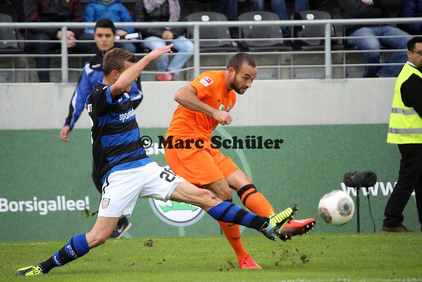 Denis Epstein (FSV) gegen Fabian Müller (Aue)- FSV Frankfurt vs. FC Erzgebirge Aue, Frankfurter Volksbank Stadion