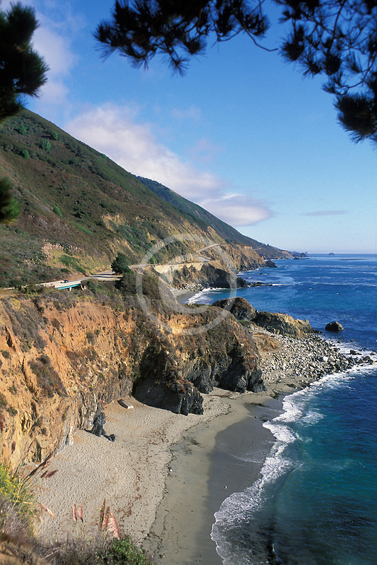 California, Big Sur, Pacific Coast Highway and beach