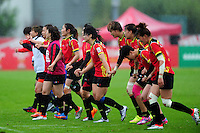 The PR China team acknowledge the crowd after the match. FISU World University Championship Rugby Sevens Women's 7th/8th place match between Spain and PR China on July 9, 2016 at the Swansea University International Sports Village in Swansea, Wales. Photo by: Patrick Khachfe / Onside Images
