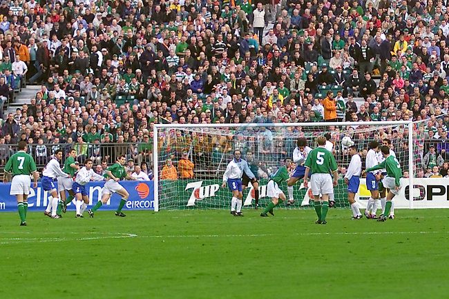 Ian Harte scores the first of the Irish Goals ..Picture Fran Caffrey Newsfile.