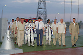 Expedition 32 Soyuz Commander Yuri Malenchenko, second from left, and NASA Flight Engineer Sunita Williams are escorted to the Soyuz rocket by senior ROSCOMOS management at the Baikonur Cosmodrome, Sunday, July 15, 2012 in Kazakhstan. The launch of the Soyuz spacecraft with Malenchenko, Williams and JAXA Flight Engineer Akihiko Hoshide aboard launched at 8:40 a.m. Kazakhstan time.  .Mandatory Credit: Carla Cioffi / NASA via CNP