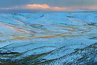 Dusk light on the Oldman River Valley<br /> Near Picture Butte<br /> Alberta<br /> Canada