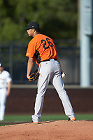 Frederick Keys starting pitcher Ofelky Peralta (26) looks to his catcher for the sign against the Buies Creek Astros at Jim Perry Stadium on April 28, 2018 in Buies Creek, North Carolina. The Astros defeated the Keys 9-4.  (Brian Westerholt/Four Seam Images)