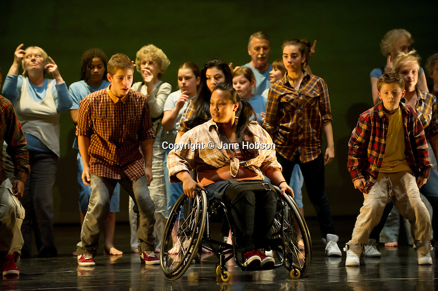 """London, UK. 31/05/2011.  Uniting the artistic talents of Nitin Sawhney, six Sadler's Wells Associate companies and a cast of 130 people of all ages and abilities, """"Sum of Parts"""" is a compelling new work from Sadler's Wells' Creative Learning and access programme, Connect. Centre: Laura Dajao. Photo credit should read Jane Hobson"""