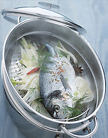 Cuisine/Gastronomie: Cuisson a la vapeur de fenouil d'une daurade royale