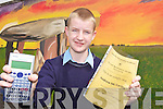 MATHS WIZARD: Andrew McCarthy, a student at Scoil Phobail Sliabh Luachra in Rathmore who received a certificate for participating in the Irish Maths Teachers Association Finals in Cork recently.