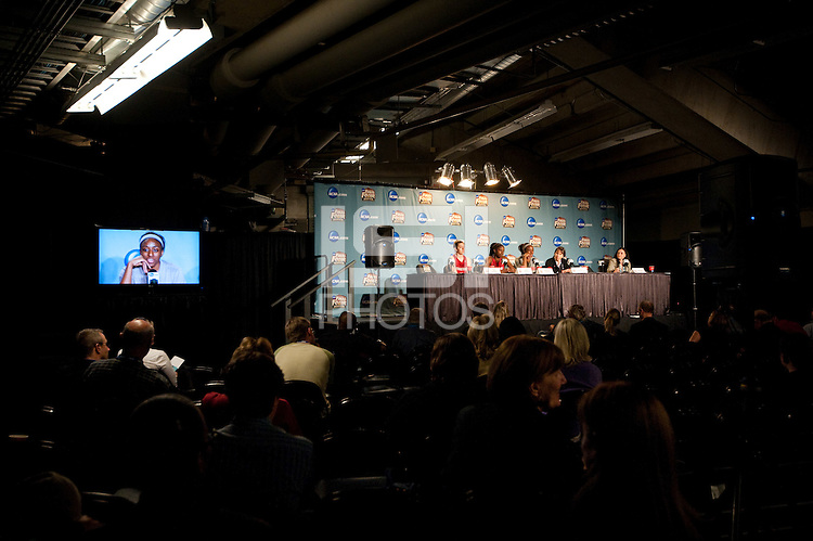 DENVER, CO--Members of the Stanford Cardinal field questions during a post-practice press conference at the Pepsi Center for the 2012 NCAA Women's Final Four festivities in Denver, CO.