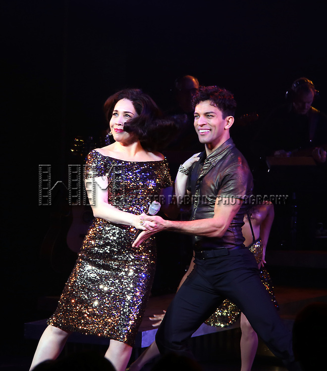 Andréa Burns and Carlos E. Gonzalez of the Broadway production of 'On Your Feet!' celebrate their 500th performance at Marquis Hotel  on January 18, 2017 in New York City.