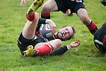 FRANKFURT, GERMANY - DECEMBER 01: Rugby match between Eintracht Frankfurt (black) and SC Frankfurt 1880 II (red-black) at the Philipp-Holzmann-Schule sports ground on December 01, 2012 in Frankfurt, Germany. The match ended 11-3. (Photo by Dirk Markgraf)