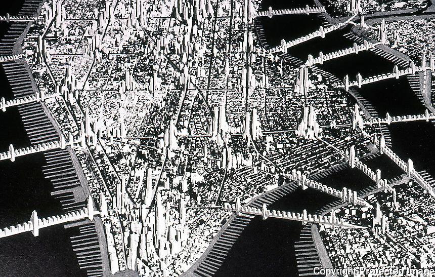 """Raymond Hood:  """"Manhattan 1950"""" --Collage, 1930. (See Paul Rudolph too)  Koolhaas, p. 148."""