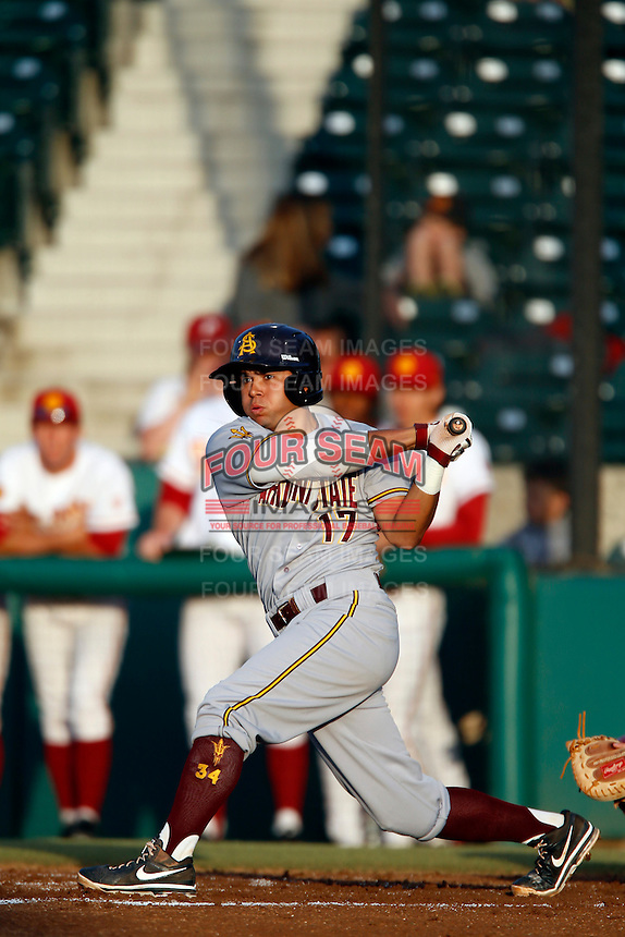 Drew Stankiewicz #17 of the Arizona State Sun Devils bats against the USC Trojans at Dedeaux Field on April 12, 2013 in Los Angeles, California. USC defeated Arizona State, 5-0. (Larry Goren/Four Seam Images)