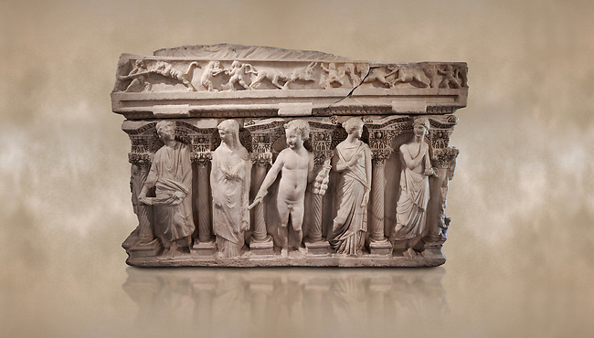 """Roman relief sculpted sarcophagus with kline couch lid, """"Columned Sarcophagi of Asia Minor"""" style typical of Sidamara, 3rd Century AD, Konya Archaeological Museum, Turkey. Against a warm art background."""