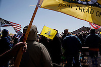 """Searchlight, Nevada, March 28, 2010 - Gadsen flags, reading """"Don't Tread on Me,"""" and American flags were in abundance during the first Tea Party Express rally in Searchlight, the hometown of Senate Majority Leader Harry Reid. Dubbed the Showdown in Searchlight, the event is located just north of town on private property near Reid's home. The raucous, but peaceful event was expected to draw 5,000 to 10,000 supporters, with actual estimates ranging from 7,000 to 8,000 - though party organizers said the numbers were as high as 13,000. The 20-day tour will wind through the United States ending up in Washington, D.C. on April 15 for a tax day rally. ."""