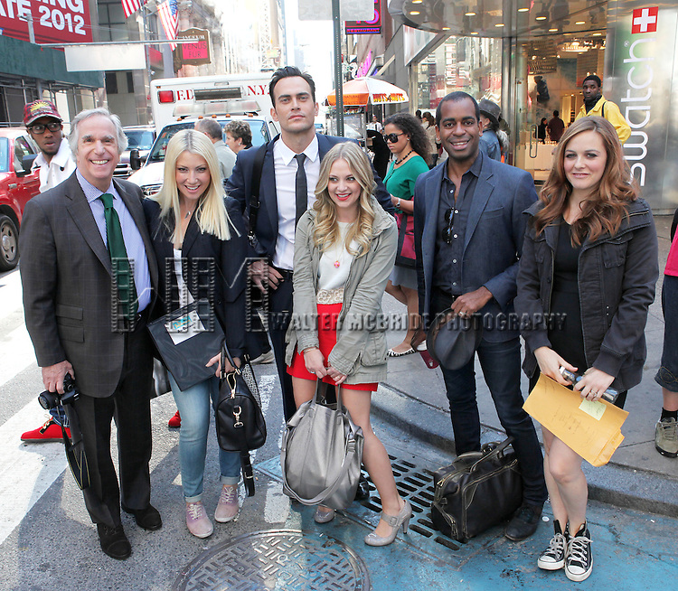 """The cast and creative team of """"The Performers"""", from left, actor Henry Winkler, actress Ari Graynor, actor Cheyenne Jackson, actress Jenni Barber actor Daniel Breaker and Alicia Silverstone attends press event to introduce the cast and creators of the new Broadway play """"The Performers""""at the Hard Rock Cafe on Tuesday, Sept. 25, 2012 in New York."""