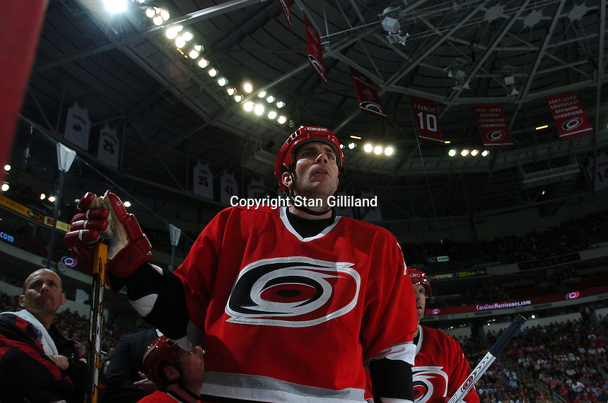 Carolina Hurricanes' Niclas Wallin gets ready to take to the ice against the  Boston Bruins at the RBC Center in Raleigh, NC Wednesday, March 1, 2006. The Hurricanes won 4-3...
