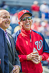 22 September 2013: Washington Nationals Manager Davey Johnson smiles alongside General Manager Mike Rizzo during a retrospective career video played for fans prior to a game against the Miami Marlins at Nationals Park in Washington, DC. The Marlins defeated the Nationals 4-2 in the first game of their day/night double-header. Mandatory Credit: Ed Wolfstein Photo *** RAW (NEF) Image File Available ***