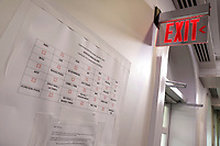 Temporary media seating chart is seen in the briefing room before U.S. President Donald Trump's briefing on the Coronavirus COVID-19 pandemic at the White House in Washington on March 19, 2020. <br /> Credit: Yuri Gripas / Pool via CNP/AdMedia